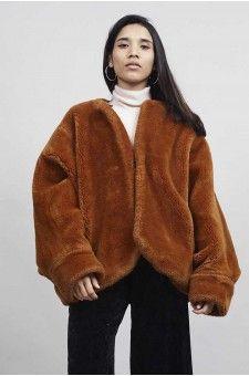 Faux Fur at its best . 1980's batwing jacket