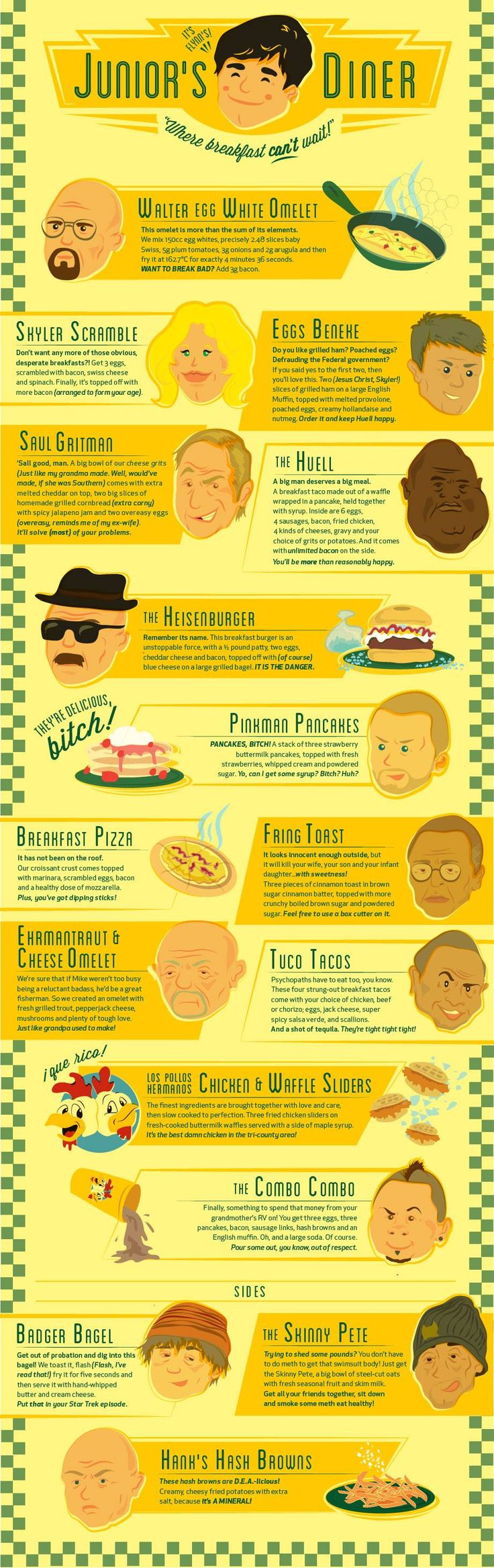 Breaking Bad Menu -  Eat your heart out Breaking Bad fans by Michelle Diaz & Alec Jankowski  #malta #socialmedia #breakingbad DO YOU WANT TO HAVE SOCIAL PROFILES LIKE ME www.ICanDoThings.com
