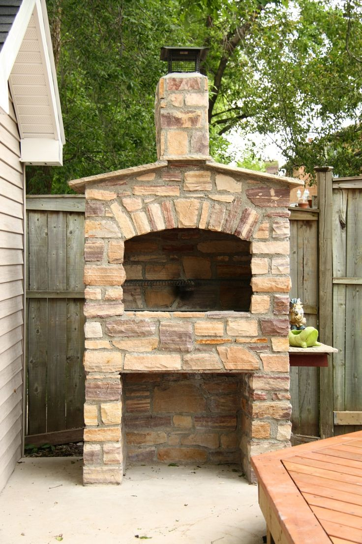Stone bbq patio pinterest stones for Outdoor barbecue grill designs