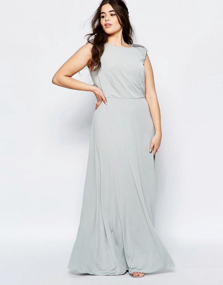 Image 1 ofLovedrobe Plus Bridesmaid Maxi Dress With Embellished Shoulders