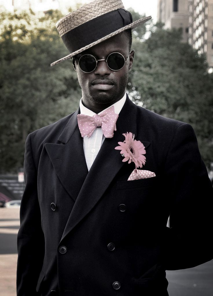 Peak lapel jacket, straw boater, pink bow tie,white shirt, NYC, African-American.
