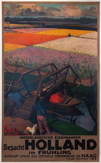 1927 Visit Holland in Spring, Dutch vintage travel poster
