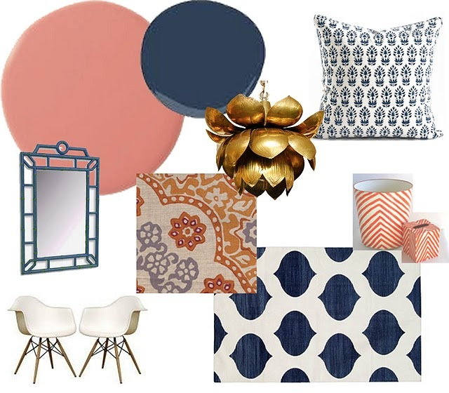 Blue and Coral Elements (Love - rug, pillow and stripped accent items)
