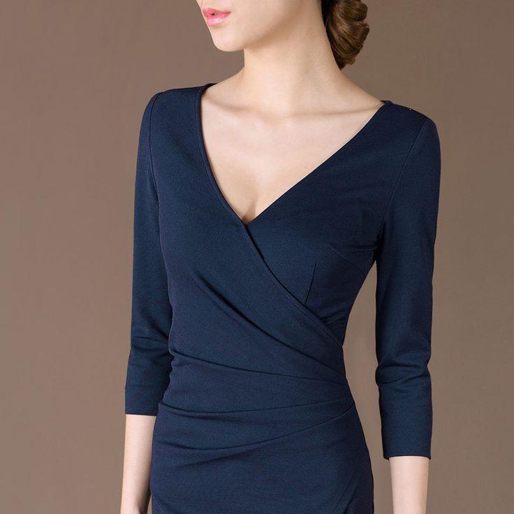 Платье с v образным вырезом три четверти, сарафан лето пр элегантный рукав приталенный один частей доступны купить на AliExpress