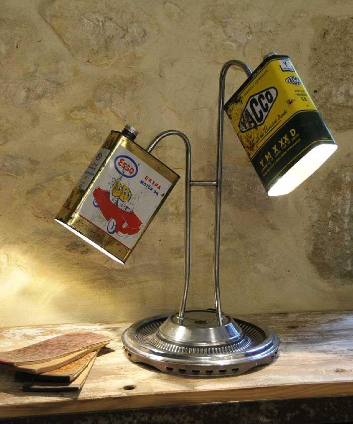"""LAMPE CREATION UNIQUE """" REF ESSO """" BIDON JERRICAN DECO LOFT 98,90 EUROS EN VENTE SUR http://www.lylylacomtesse.fr/"""