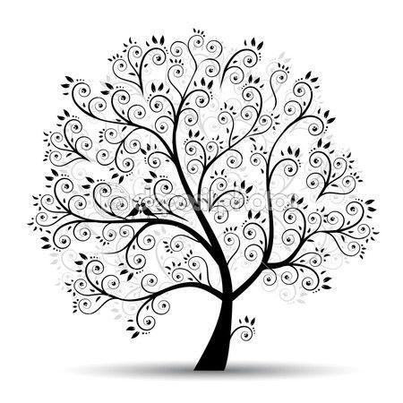 Kunst Baum schön, schwarz Silhouette