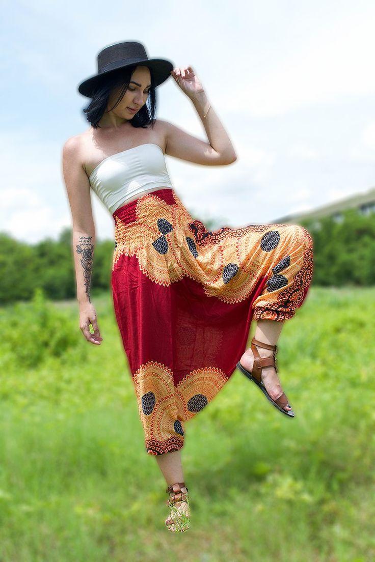 Thai Harem Pants Women Jumpsuit Yoga Mandala Red with Orange Flower