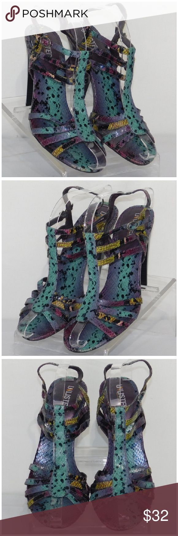 """UNLISTED, 'A KENNETH COLE CO, Strappy Heels, sz 10 UNLISTED, 'A KENNETH COLE CO', Multi-colored Strappy Heels, size 10 M, reptile colorful print, silvertone buckle, man-made materials. Rulers for reference only (blue is 6"""", green is 12""""). Pictures are accurate depiction of condition, please zoom in for close up view of any distress, scratches, scuffs. ADD TO A BUNDLE! 30% Automatically Discounted on all Bundles! Unlisted by Kenneth Cole Shoes Heels"""