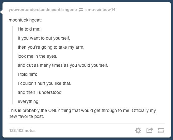 This is to all those who have been a cutter/depressed. I am crying a river right now.