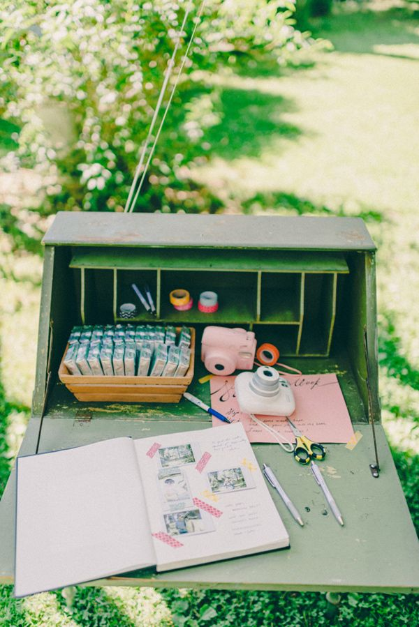 DIY wedding guestbook with Polaroid, Washi tape and scrapbook.