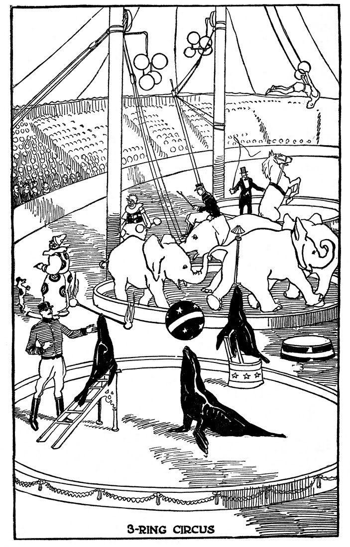 Vintage Kids Printable 3 Ring Circus Coloring Page