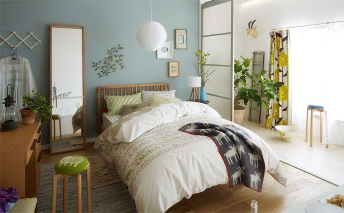 淡いカラーに心落ち着く、スロータイムなベッドルーム