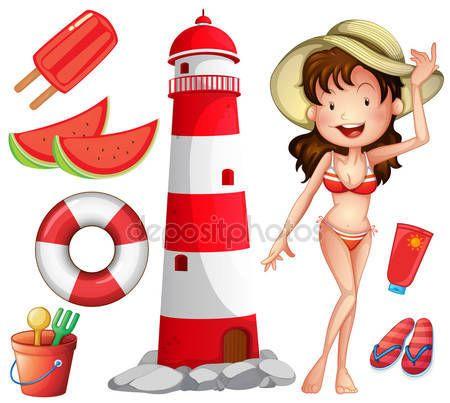 Scarica - Donna in bikini e altre cose di spiaggia — Illustrazione stock #81510158