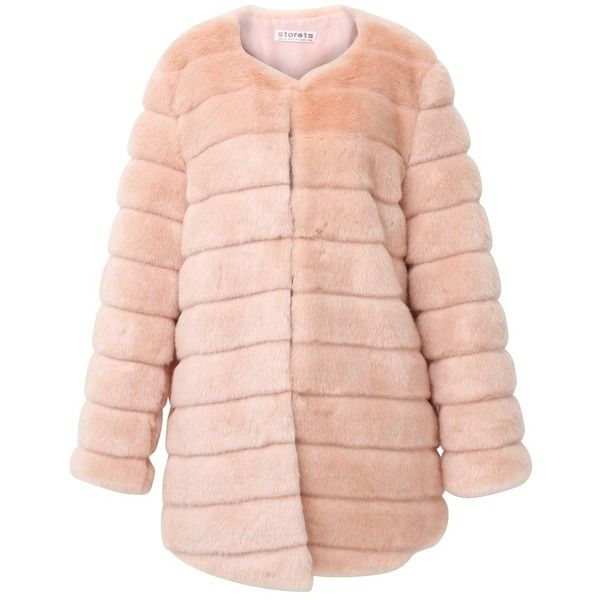Storets Luxe Glam Faux Mink Fur Coat (€165) ❤ liked on Polyvore featuring outerwear, coats, jackets, abrigo, mink coat, faux mink coat, faux mink fur coat, pink coat and mink fur coat
