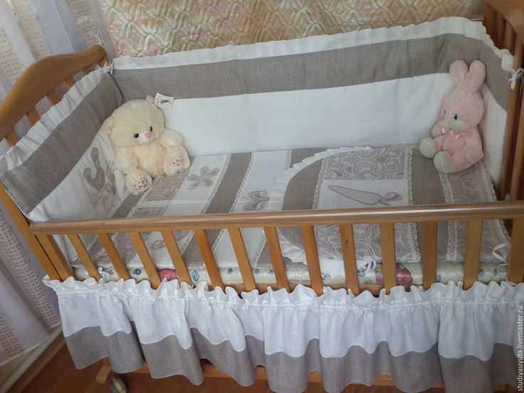 Купить Бортики для детской кроваткиРябушка - серый, для малыша, для кроватки…