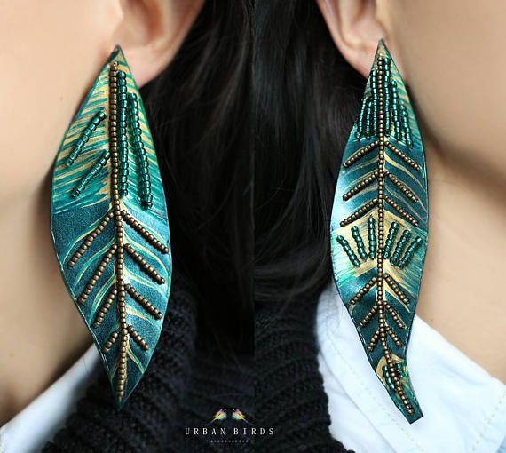 Leather Earrings Handmade Earrings Green Leaves Autumn