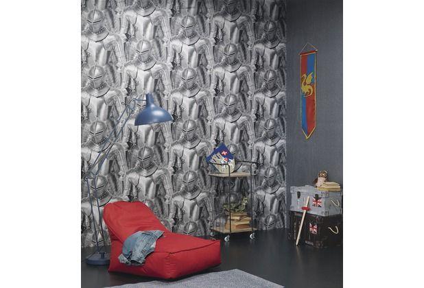 Tolle Tapete für kleine Ritter! Die coole 3D Optik verschönert jedes Kinderzimmer.  #Tapete #Tapetenidee #Wanddekoration #Schlafzimmer #Wohnzimmer #Esszimmer #Küche #Ritter #Rüstung #Hertie