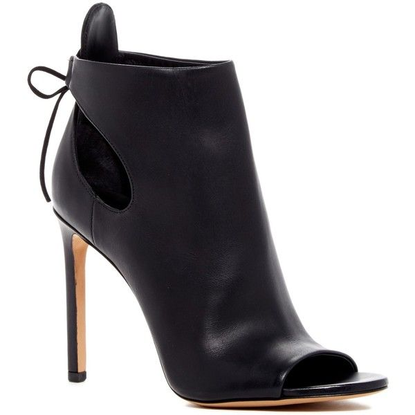 VINCE. Gabbrielle Open Toe Bootie ($230) ❤ liked on Polyvore featuring shoes, boots, ankle booties, black le, black cutout booties, black leather boots, ankle boots, short black boots and open toe booties