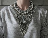 Harlem NEW 2015 collection! Handcrafted Statement Necklace: Silver and Bronze crystal layered & stacked rhinestone ethnic bohemian necklace