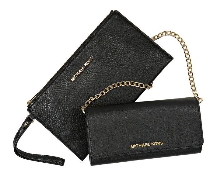 Moda, 4. krs. Michael Kors Clutch 85 €.  Michael Kors -lompakko 165 €. Irrotettava olkahihna.