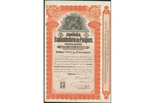 Compañía Expendedora de Pulques. Accion 100 Peso, Serie B, Mexico 1 Julio 1910. #20184. Pulques i