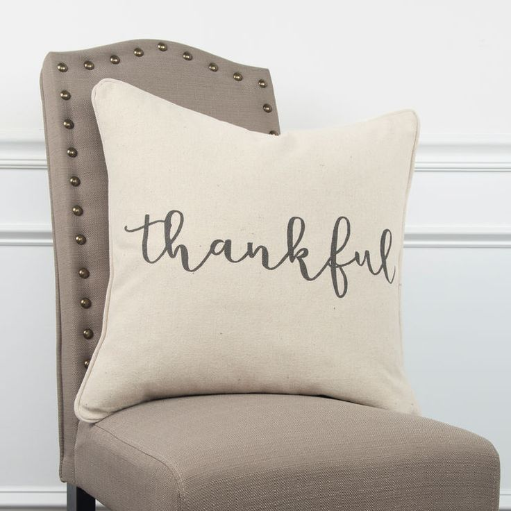 Sentiment Gray Simply Thankful Down Pillow Pillows