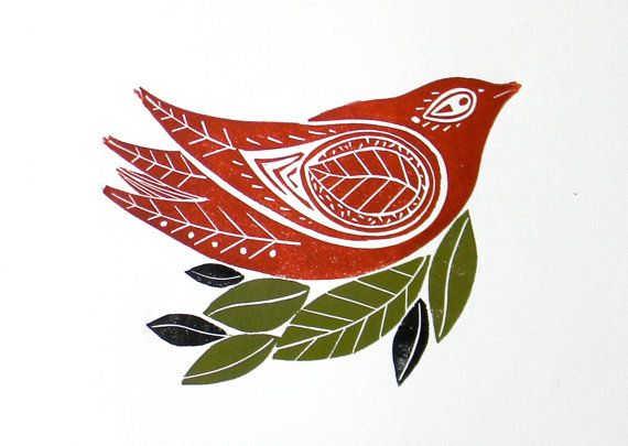 lino print bird 2 and branch