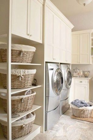 Traditional Laundry Room with laundry sink, Built-in bookshelf, Standard height, Farmhouse sink, flush light