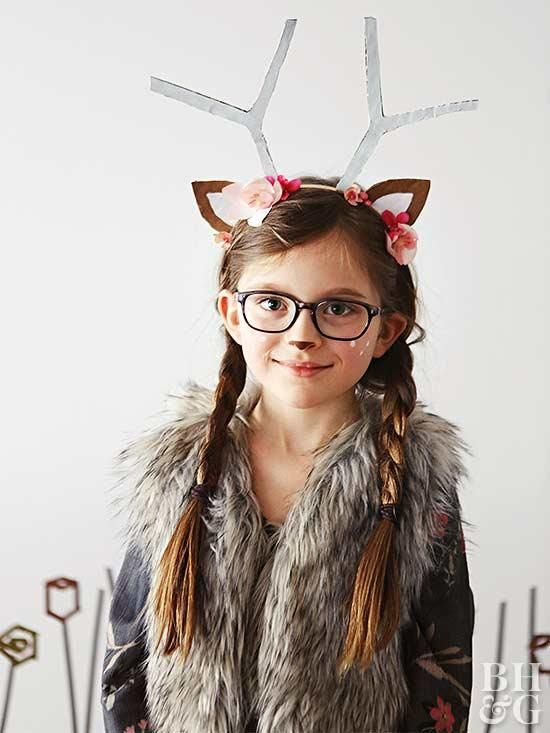 6589f3c5a Make the cutest deer costume ever with cardboard antlers and ears. Just  some pink floral elements, white painted freckles and a fur vest to finish  the look!