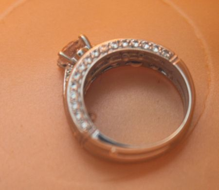 How to clean wedding ring - 1/2 c. vinegar, 1/4 c. hydrogen peroxide; soak 30-45 min; brush with toothbrush; then boil in H2O 20 min.