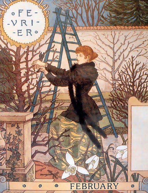 "February, Eugène GRASSET Calendrier ""La Belle Jardinière"" 1896"