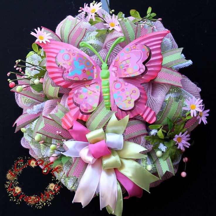 Deco Mesh Wreath, Pink Mesh Wreath, Butterfly Mesh Wreath, Pink Door Decor…