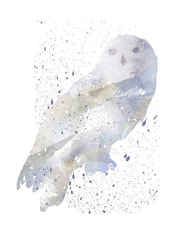 Hedwig Harry Potter Alternative print Watercolor by WatercolorDsgn
