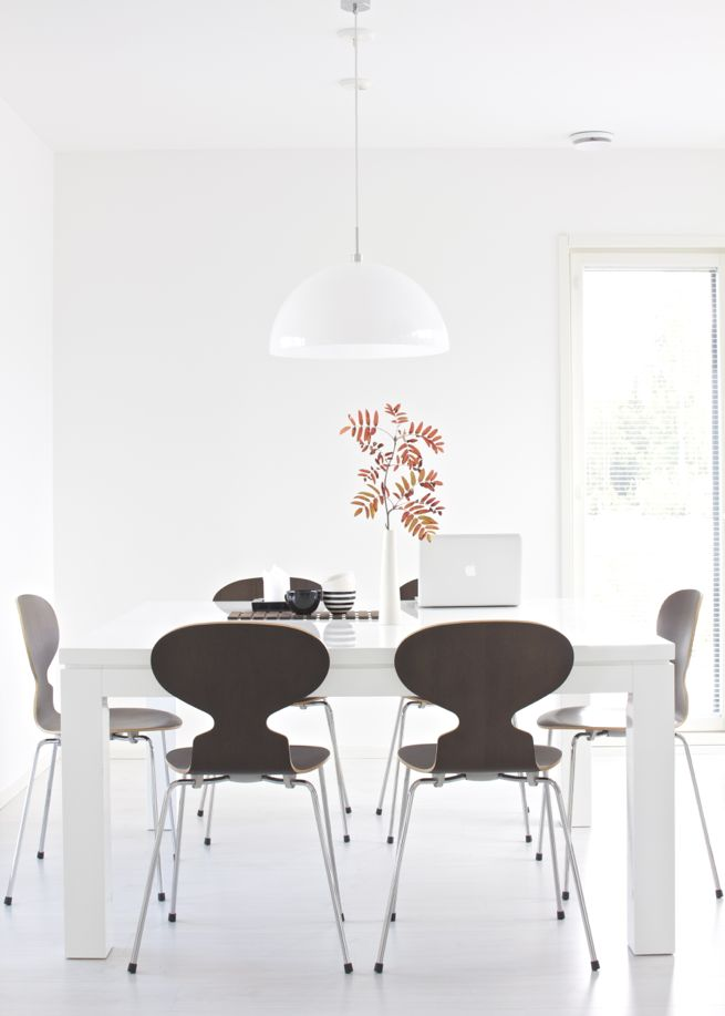 lisbet e. | Arne Jacobsen Ant chair, Valanti Ruutu dining table, Frandsen Half Moon pendant light, Amfora ceramics