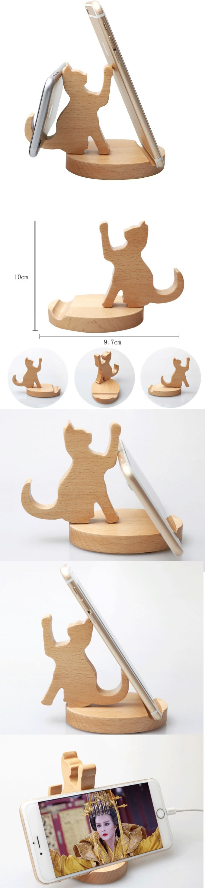 Wooden Wood Cat Shape iPhone Cell Phone Smartphone iPad Stand Mount Holder Business Card Display Stand Holder Cat desktop ornaments for iPhone 77 Plus6s6s Plus and other smartphones