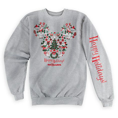 Mickey and Minnie Mouse Happy Holidays Sweatshirt for Adults - Walt Disney World