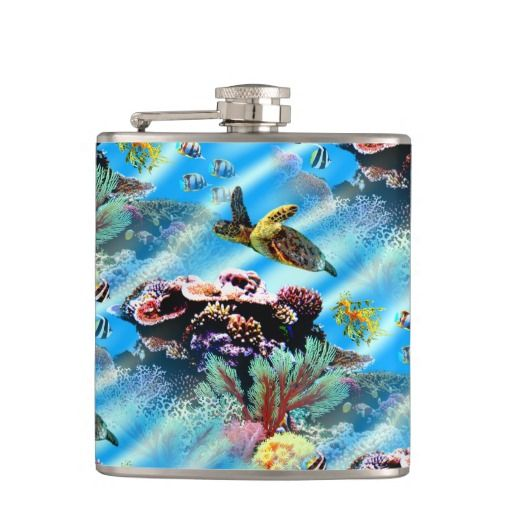 Coral Reef Ocean Sea Life Flask Flask - This drinking flask features a coral reef with a turtle, a sea dragon and fish swimming around pristine ocean waters. http://www.zazzle.com.au/coral_reef_ocean_sea_life_flask_flask-256563206931419411?rf=238523064604734277