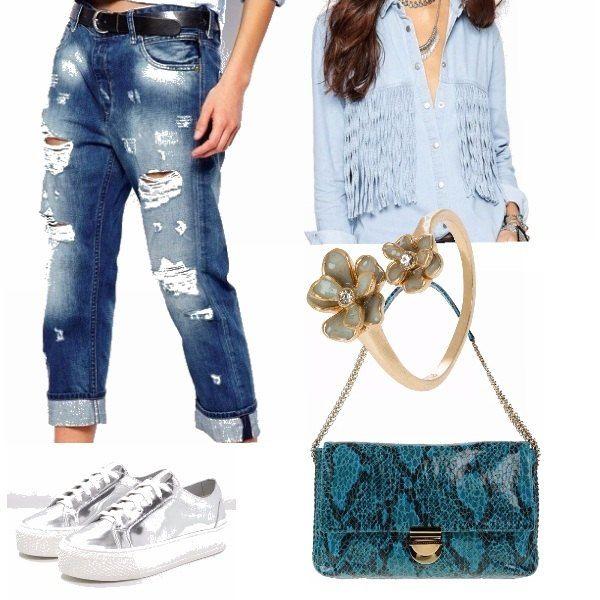 I jeans boyfriend comodissimi da indossare e per creare un look rilassato e casual, non possono mancare nel guardaroba delle ragazze più trendy. Sono i migliori amici delle fisicità curvy, perchè nascondono le rotondità, ed abbinati ad una camicia con frange e alla borsa in pitone biscay bay, sono il top.