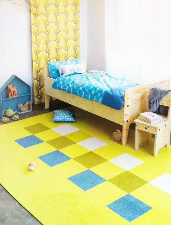 yellow & blue in child's room + Piet Hein Eek bed