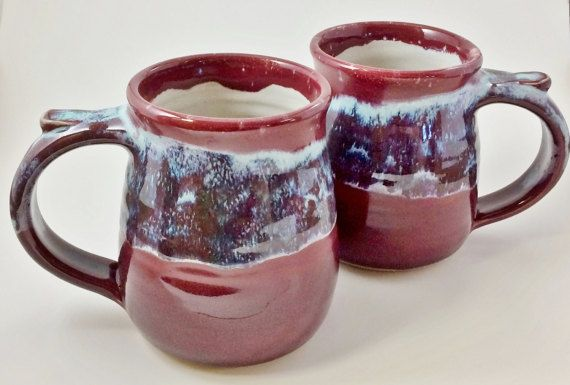 Pottery Mugs - Stoneware Mugs - Set of Two Mugs - His and Hers Mugs - Burgundy and Teal Mugs - Microwave Safe Mugs - 14 Ounce Mugs