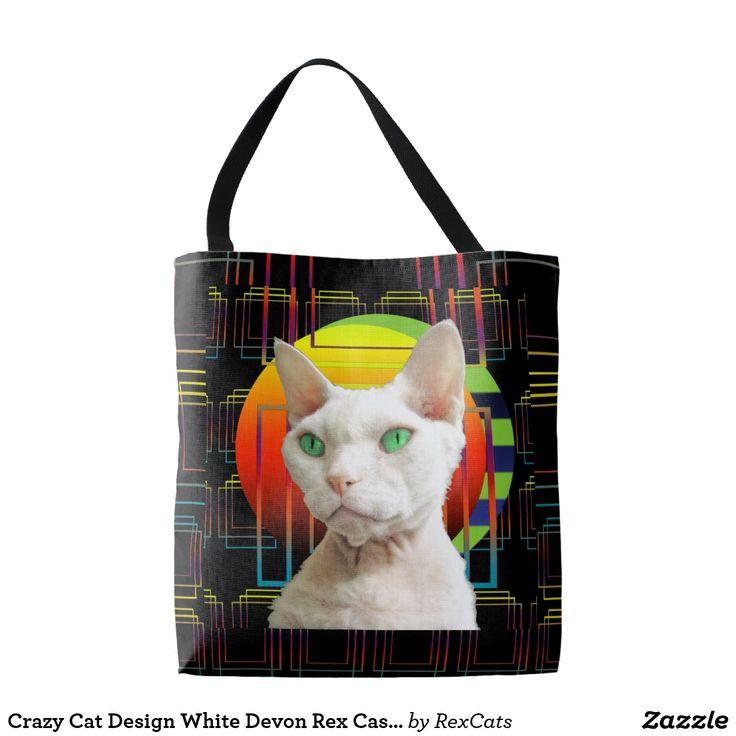 Crazy Cat Design White Devon Rex Casper on Black Tote Bag