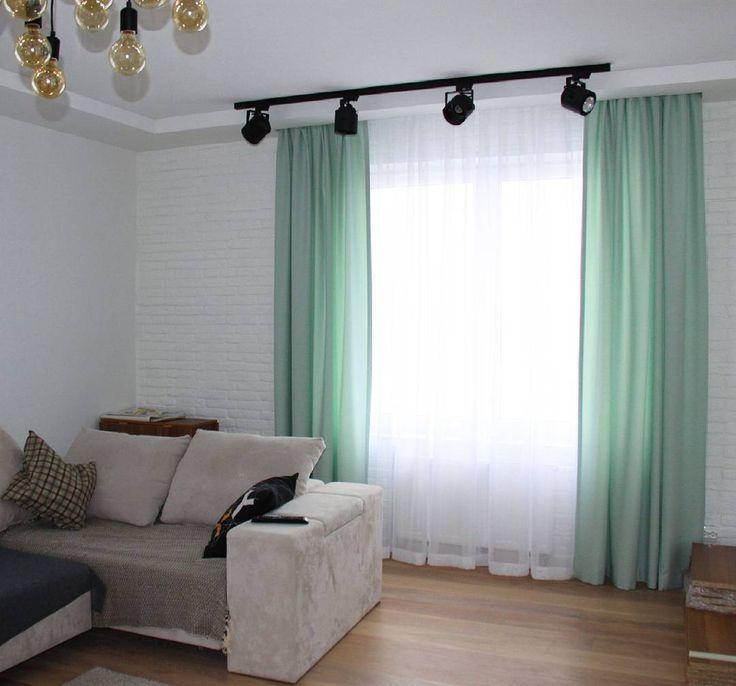 Нежные шторы в гостиную. Дизайнер Инна