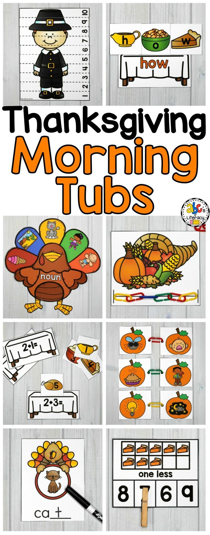 Are you looking for a better way to start your day? Then, you have to try #morningtubs! These holiday-themed #ThanksgivingMorningTubs are fun, hands-on activities used to learn and review literacy and math concepts. These interactive morning tubs are also an entertaining and engaging way to start the day. This set includes 5 #literacymorningtubs and 5 #mathmorningtubs that are perfect for children around the ages of 4-6. Click on the picture to learning more about these #learningactivities.