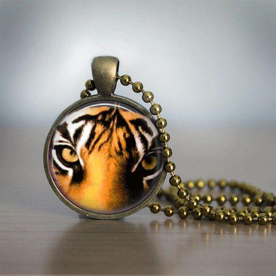 Tiger Glass Tile Necklace Glass Tile Pendant by bluerosebeadery, $10.00