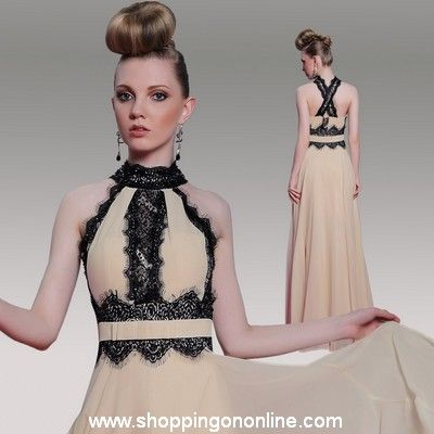 Lace Prom Dress - High Collar Backless $152.80 (was $191) Click here to see more details http://shoppingononline.com/prom-dresses/lace-prom-dress-high-collar-backless.html  #LacePromDress #BacklessPromDress #HighCollarPromDress #PromDress #SexyPromDress
