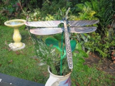spoon yard art | ... METAL DRAGONFLY YARD ART- WELDED FROM EATING UTENSILS w/ spoon leafs