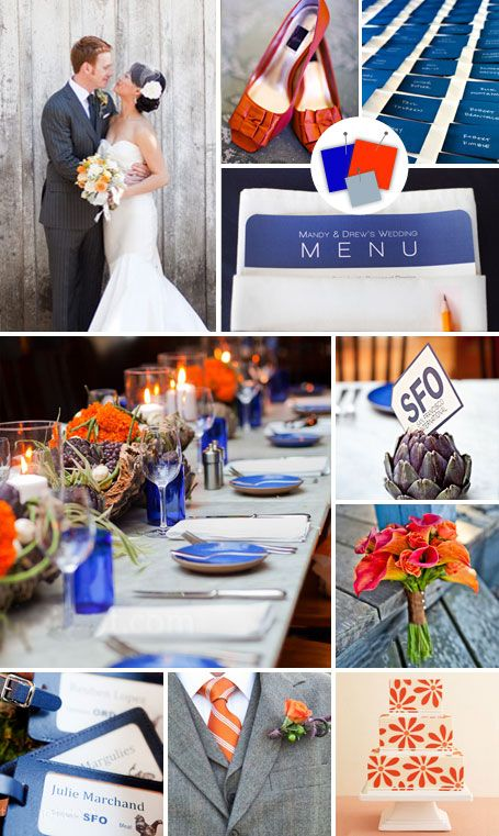 cobalt, persimmon, slate. for rustic weddings with a modern edge...doesn't that describe me perfectly?