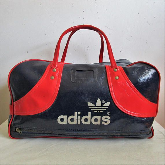 Vintage ADIDAS 1980s Tote Bag Navy Blue Red Vinyl Sport Gym 80s ... b779f641618f9