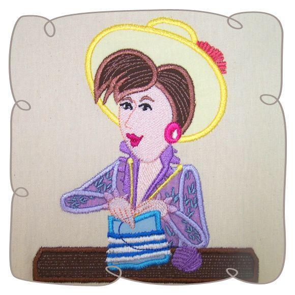 Mathilda Knitting Lady 9: Embroidershoppe