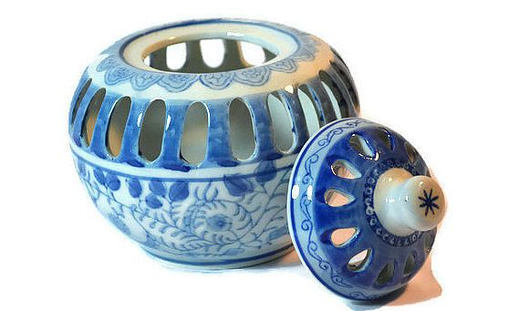 Delft Potpourri Bowl Asian Decor Decorative by DejaVuHomeInteriors